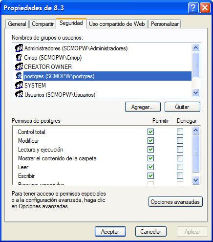 Seguridad de la Carpeta Data dentro de la instalacion de Postgres